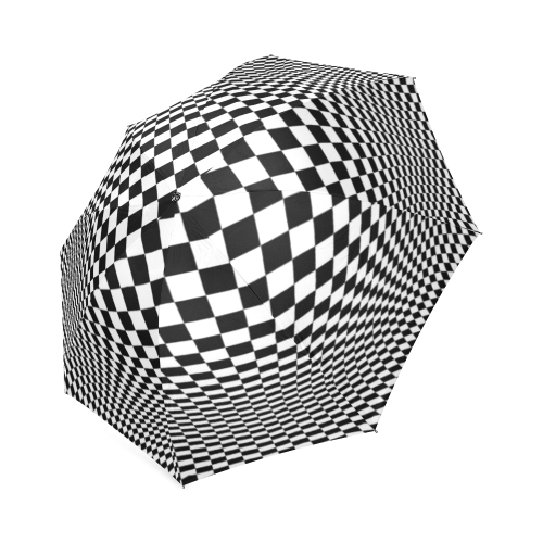 Symetrical drawing optical illusion. Checkers foldable umbrella id