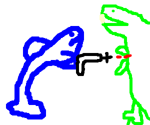 T drawing fighting. Dolphin a rex with