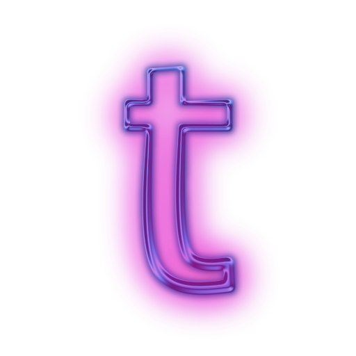 T transparent neon. Letter icons png vector