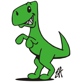 T rex clipart dinosaur drawing. The king three colors