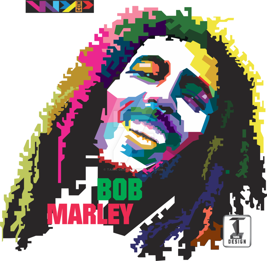 T shirt designs png. Bob marley in wpap