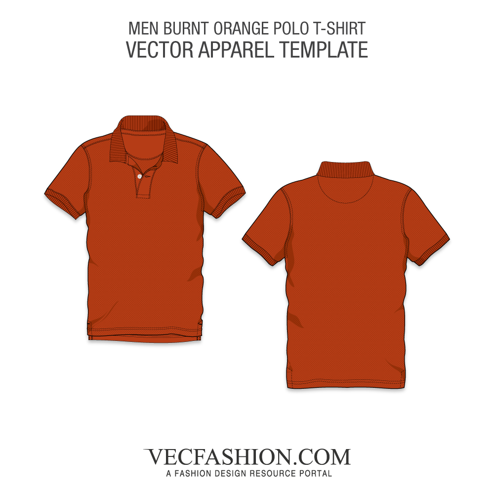 Burnt orange classic polo. Vector t clipart royalty free