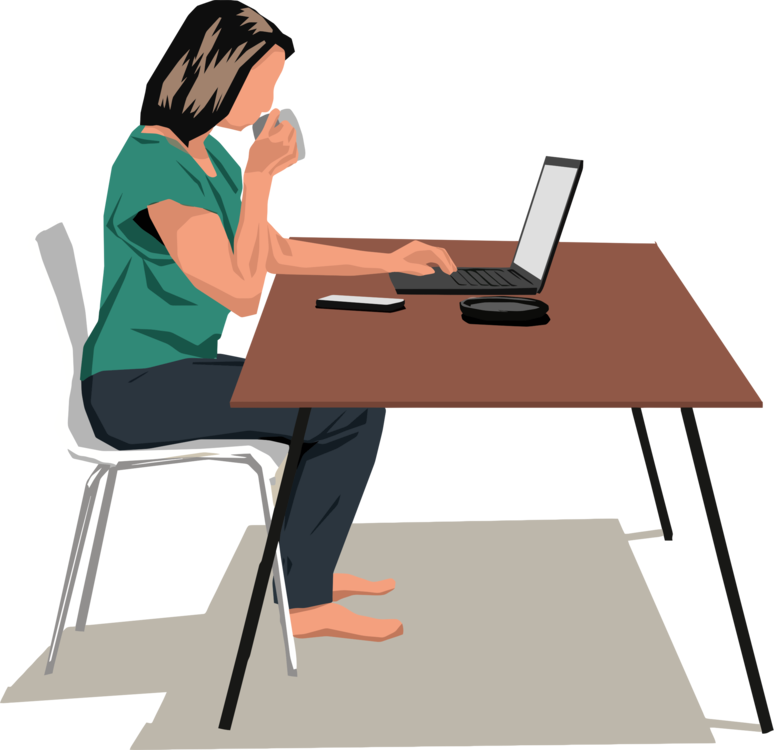 Computer table desk download. Woman clipart laptop image royalty free stock