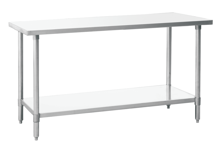 Table clip stainless steel. Work tables with undershelf