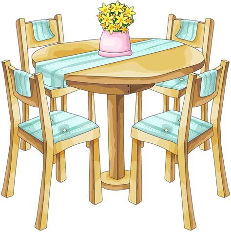 Table clipart living room table. Dining and chairs clip