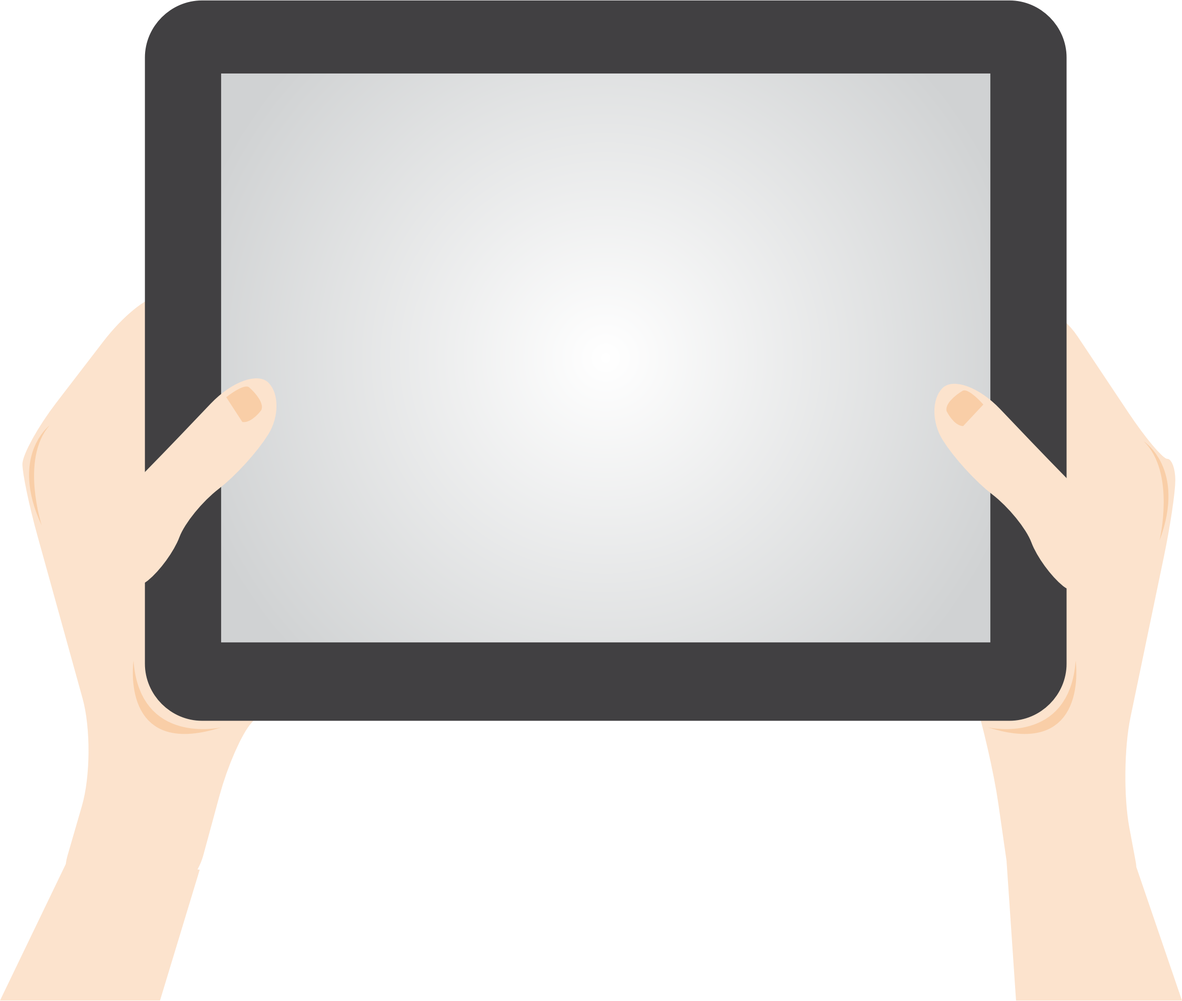 Ipad clip tablet. Person holding icons png