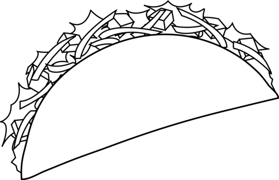 Taco clip outline. Colorable line art free