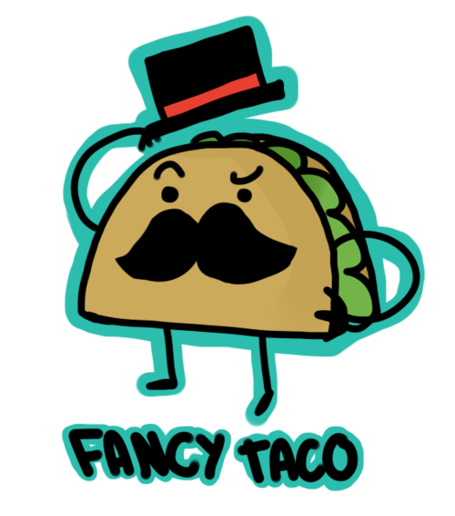 Tacos clipart face. Fancy taco cartoon penguinkids