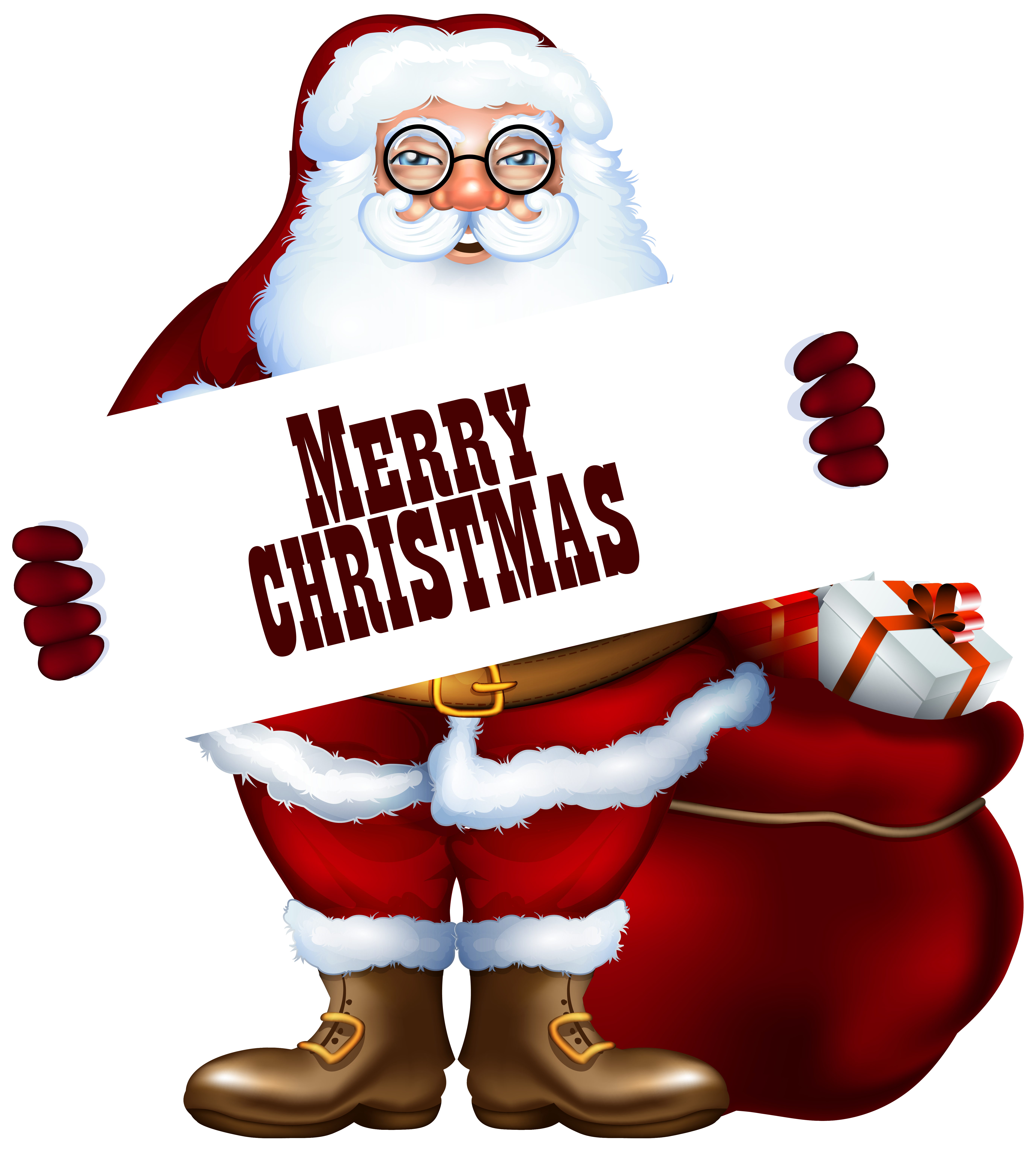 Merry christmas clipart santa. Claus with label png