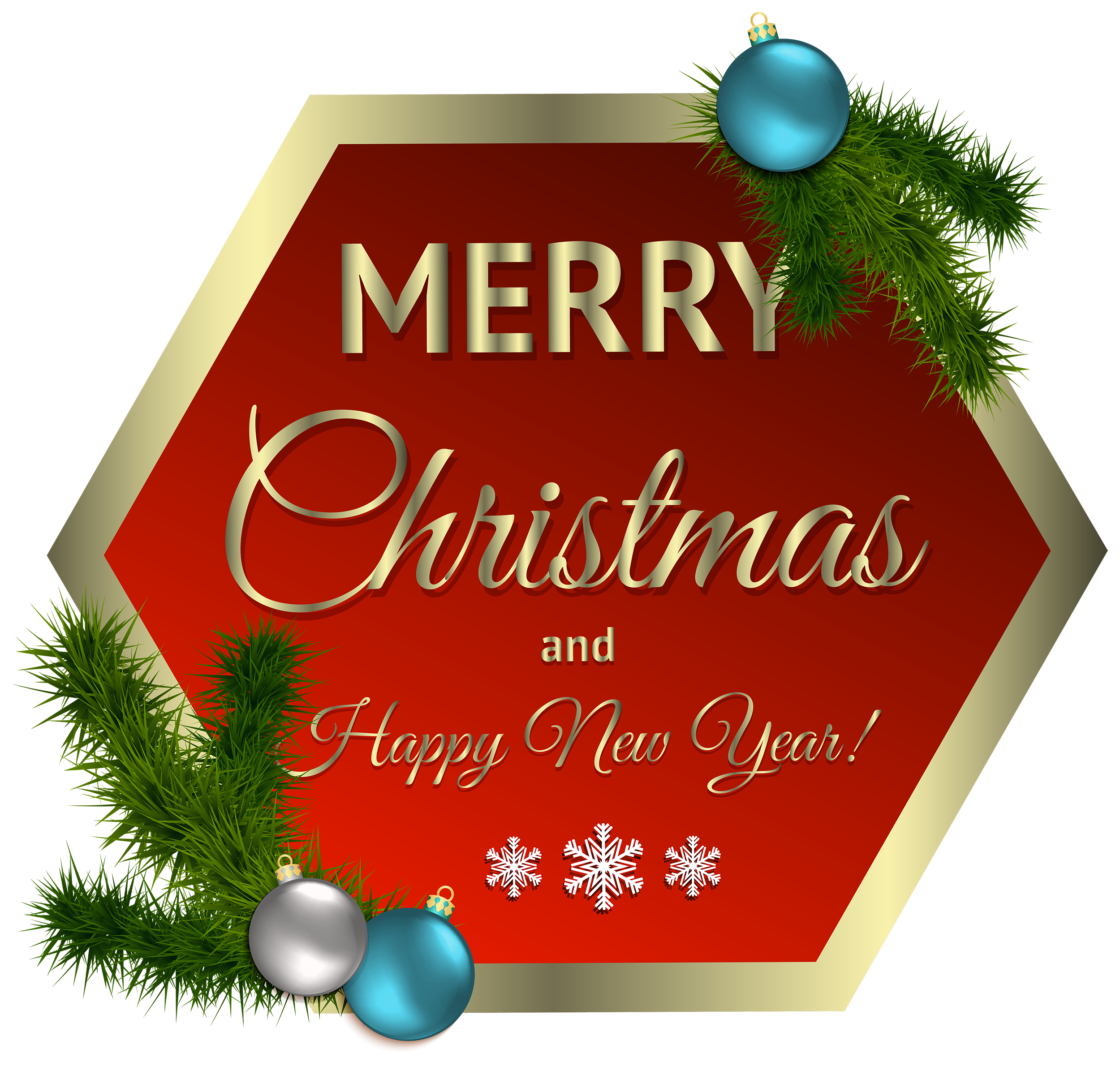 Tag clipart merry christmas. Red decor with ornaments