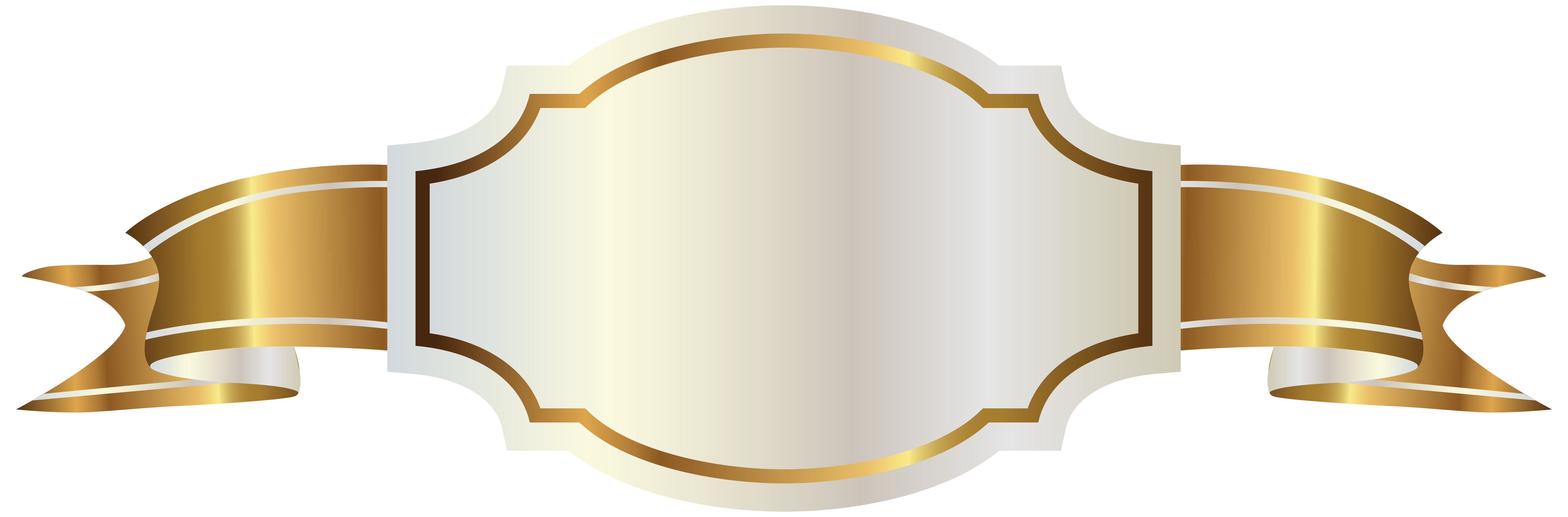 Gold banner ribbon png. White label and clipart
