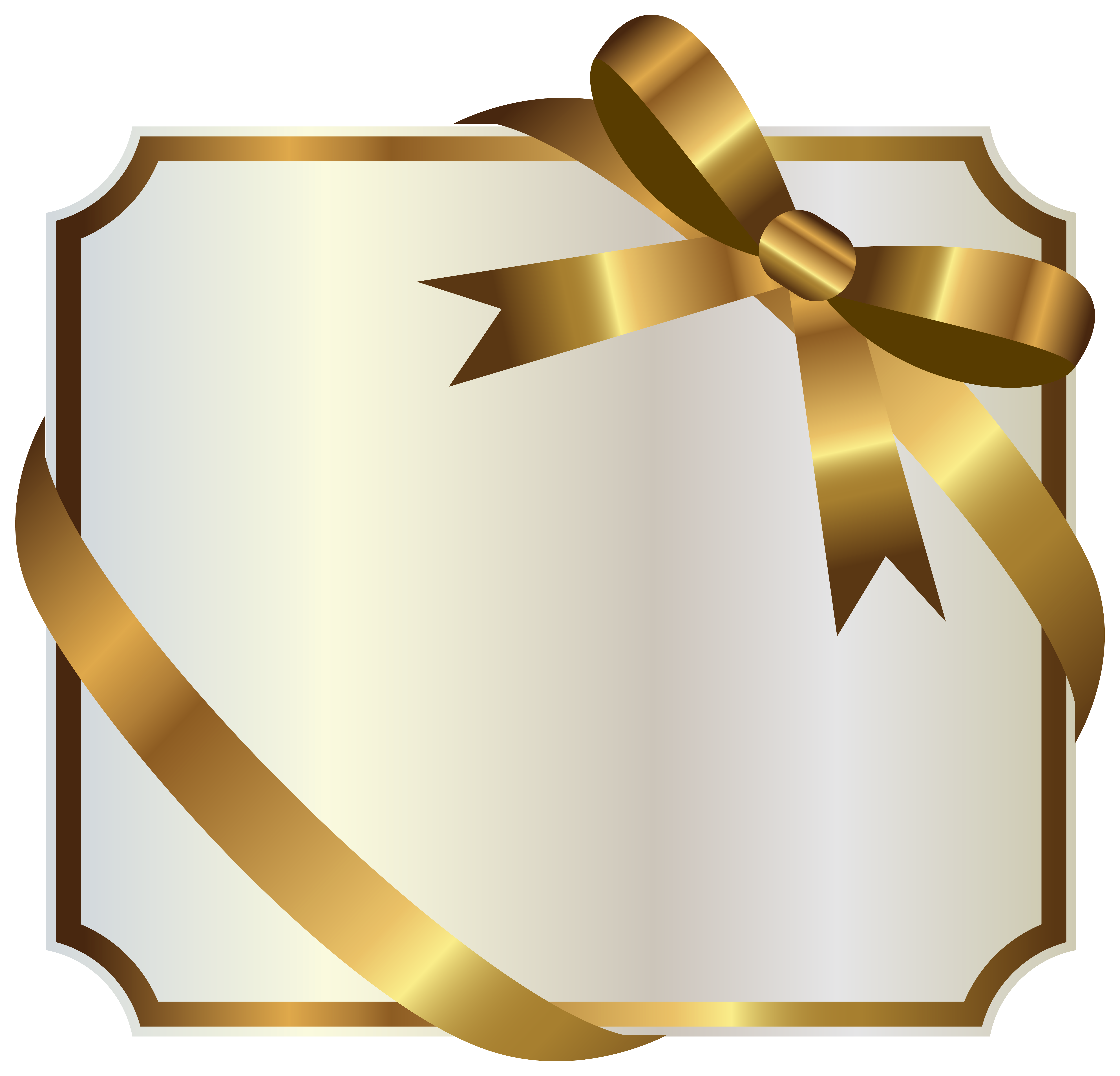 Anniversary celebration silver label and ribbon png. White with gold bow