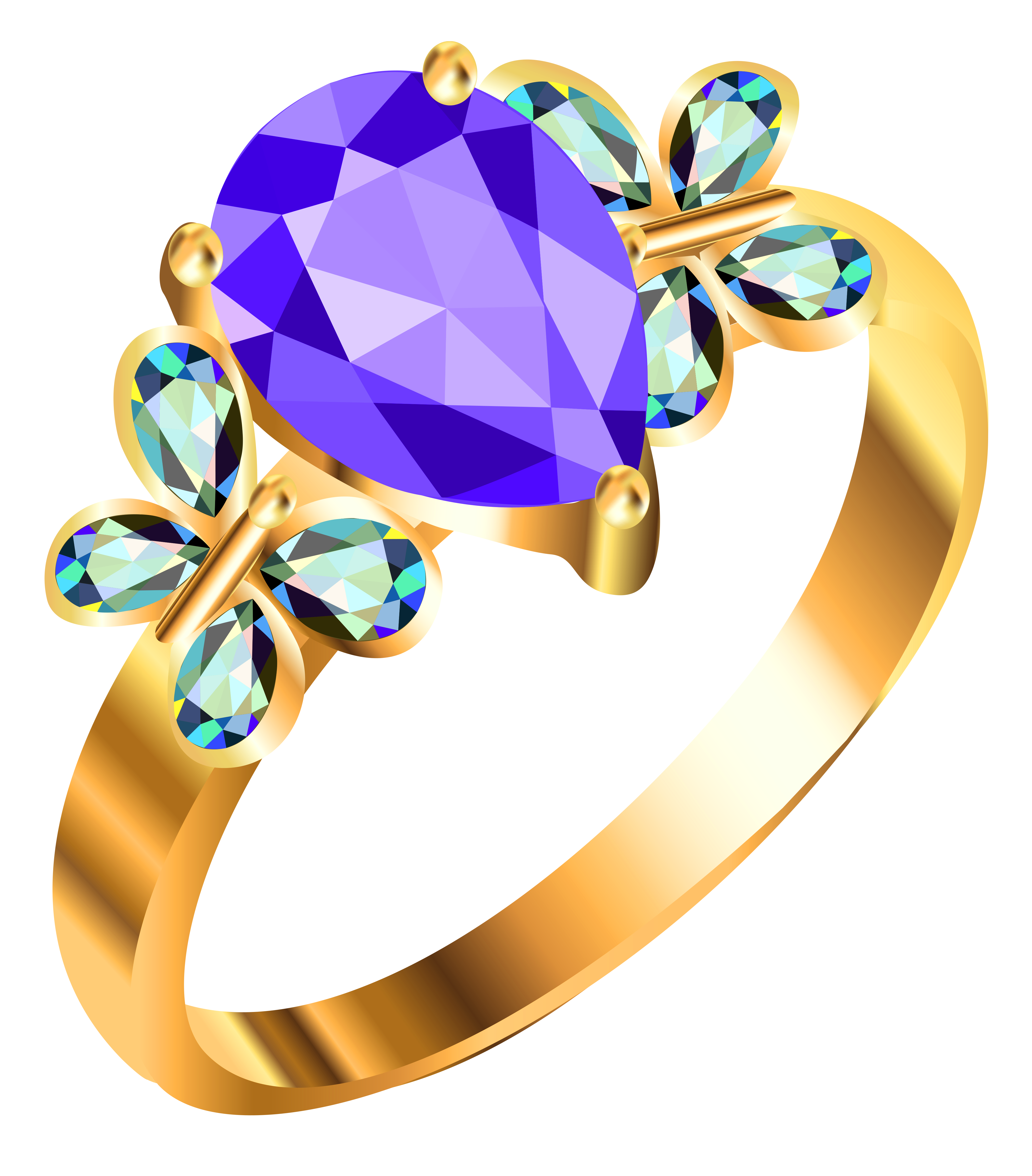 Tags or labels on a ring clipart png. Gold with blue andpurple
