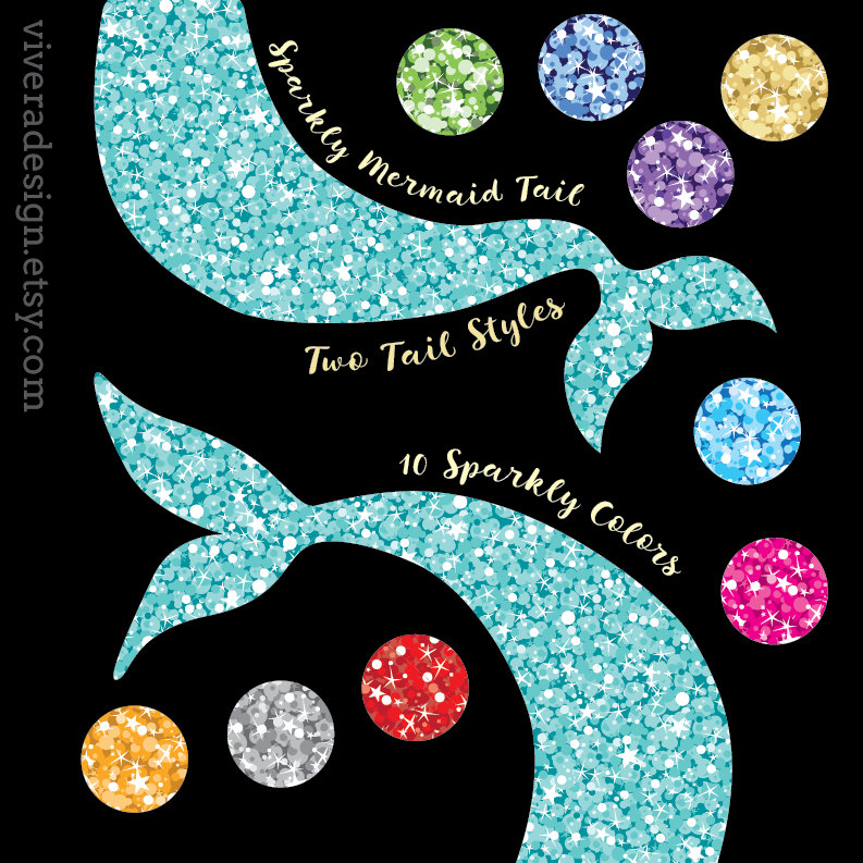 Tail clipart sparkly. Glam mermaid clip art