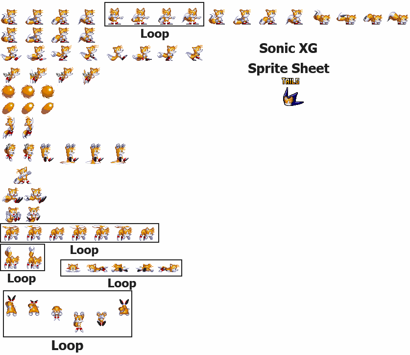 Tails sprite png. Sonic xg sheet by