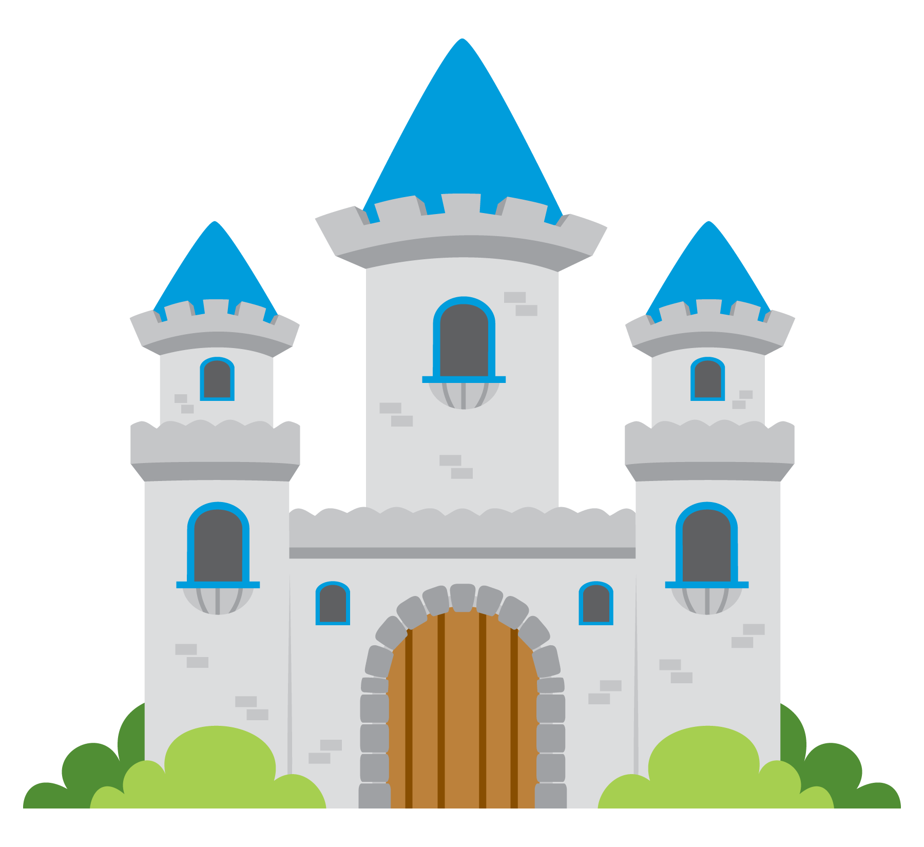Flying vector castle. Fairy tale clip art
