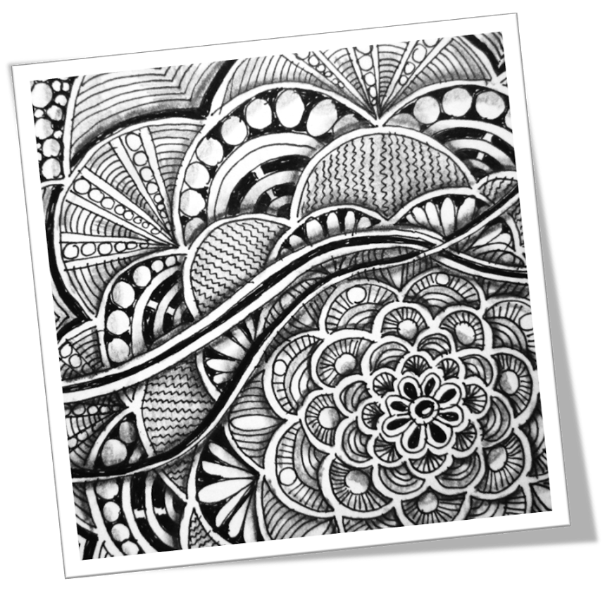 Tangle drawing. Zentangle challenge art projects