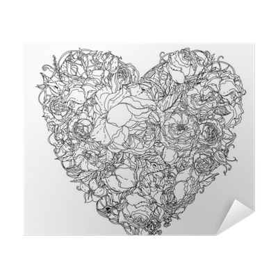 Tangle drawing black and white. Hand zentangle element poster