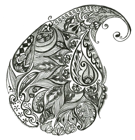 Tangle drawing dark days. Mango paisley by naga