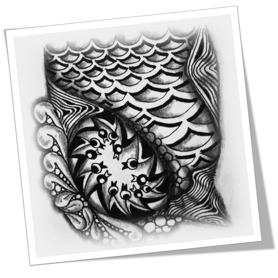 Tangle drawing pattern inside. Diva the s weekly