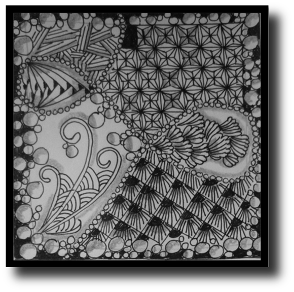 Tangle drawing project. Zentangle challenge art projects