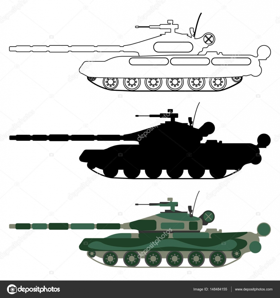 Tank clipart tank outline. Silhouette cartoon military equipment