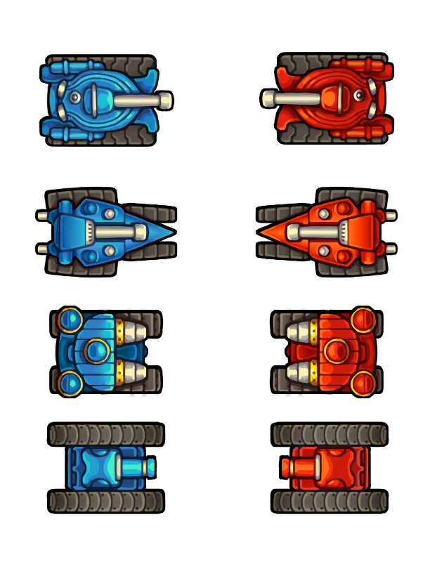 Tank clipart top view. Down painted tanks opengameart