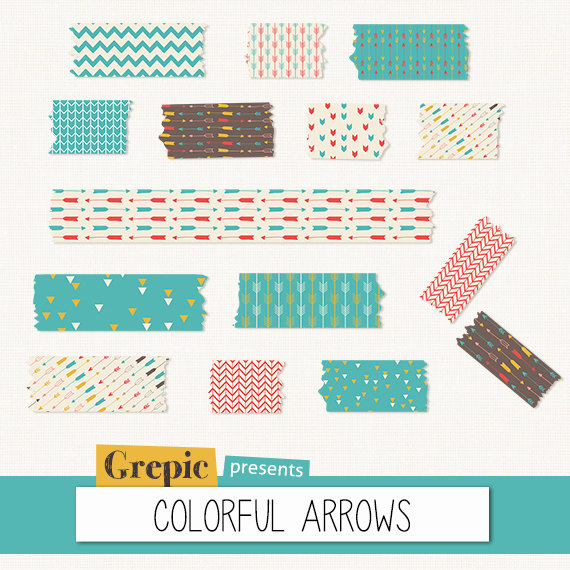 Tape clipart scrapbook. Digital washi colorful arrows