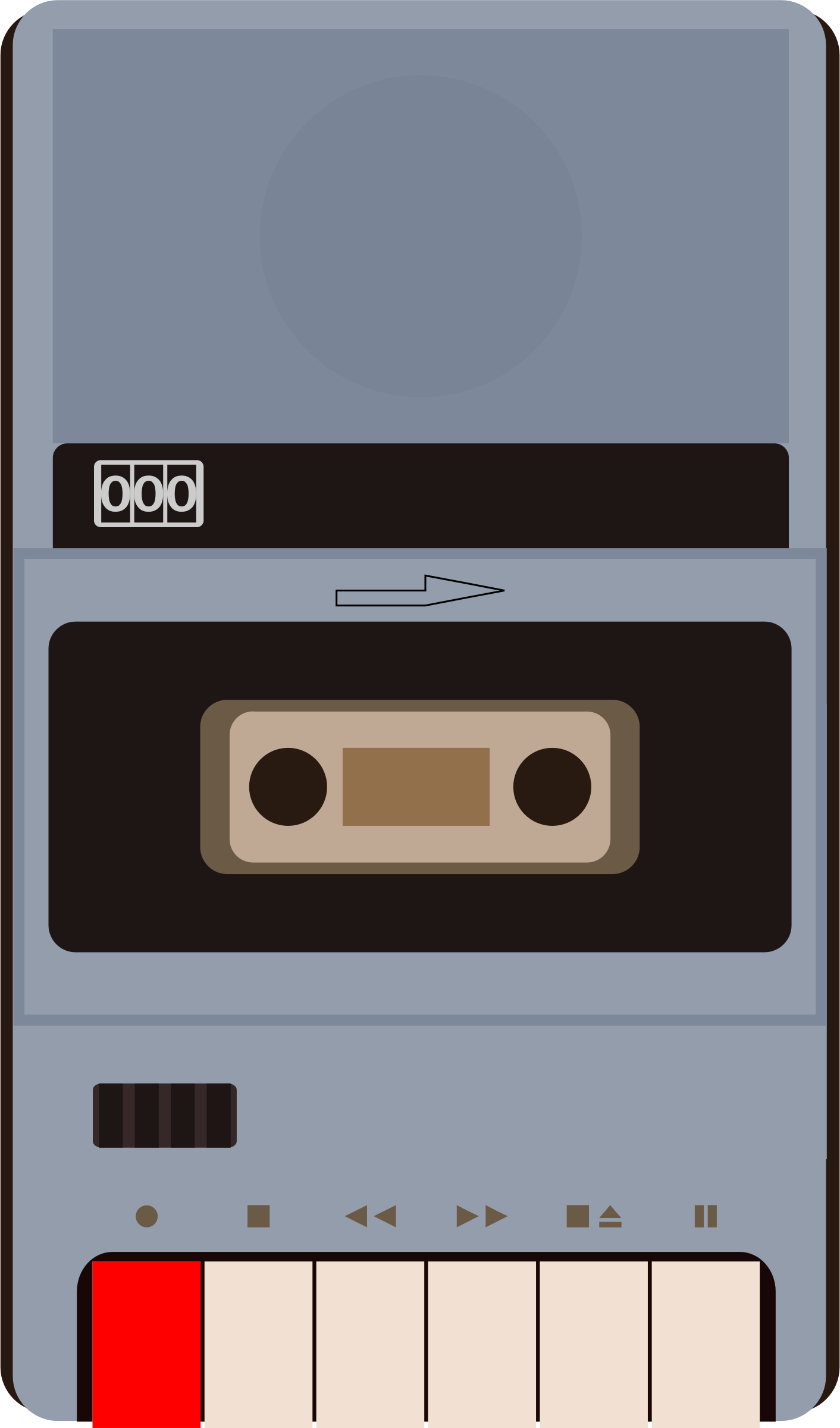 Cassette recorder icon big. Tape clipart tape player vector free
