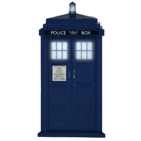 Transparent tardis open. Background check all