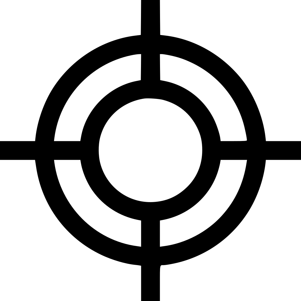 Target point goal cross. Center svg graphic black and white stock