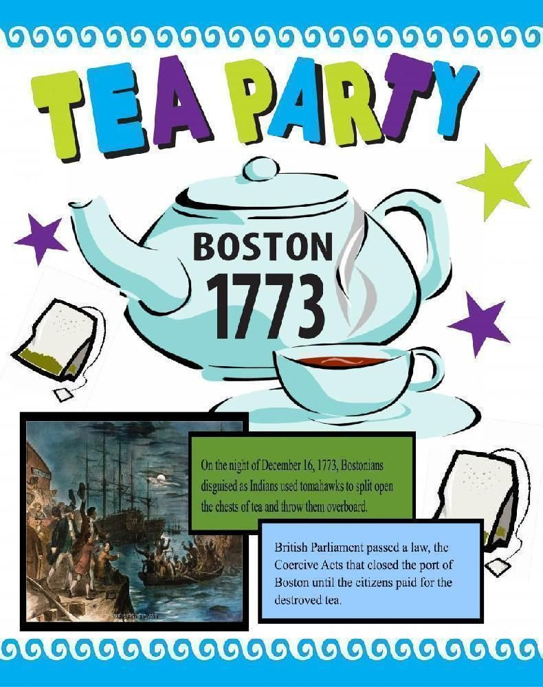 Tea clipart coercive act. Make a poster about