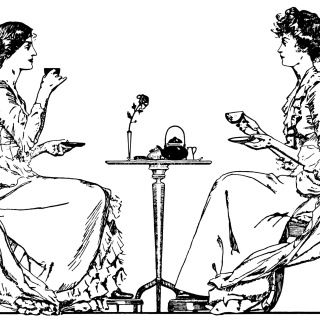Tea clipart social. Victorian time ladies drinking