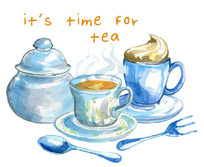 Tea clipart social. Watercolor set time by