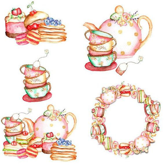 Tea clipart social. Clip art design set