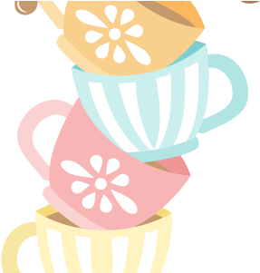 Tea party png. Download stacked cups clipart