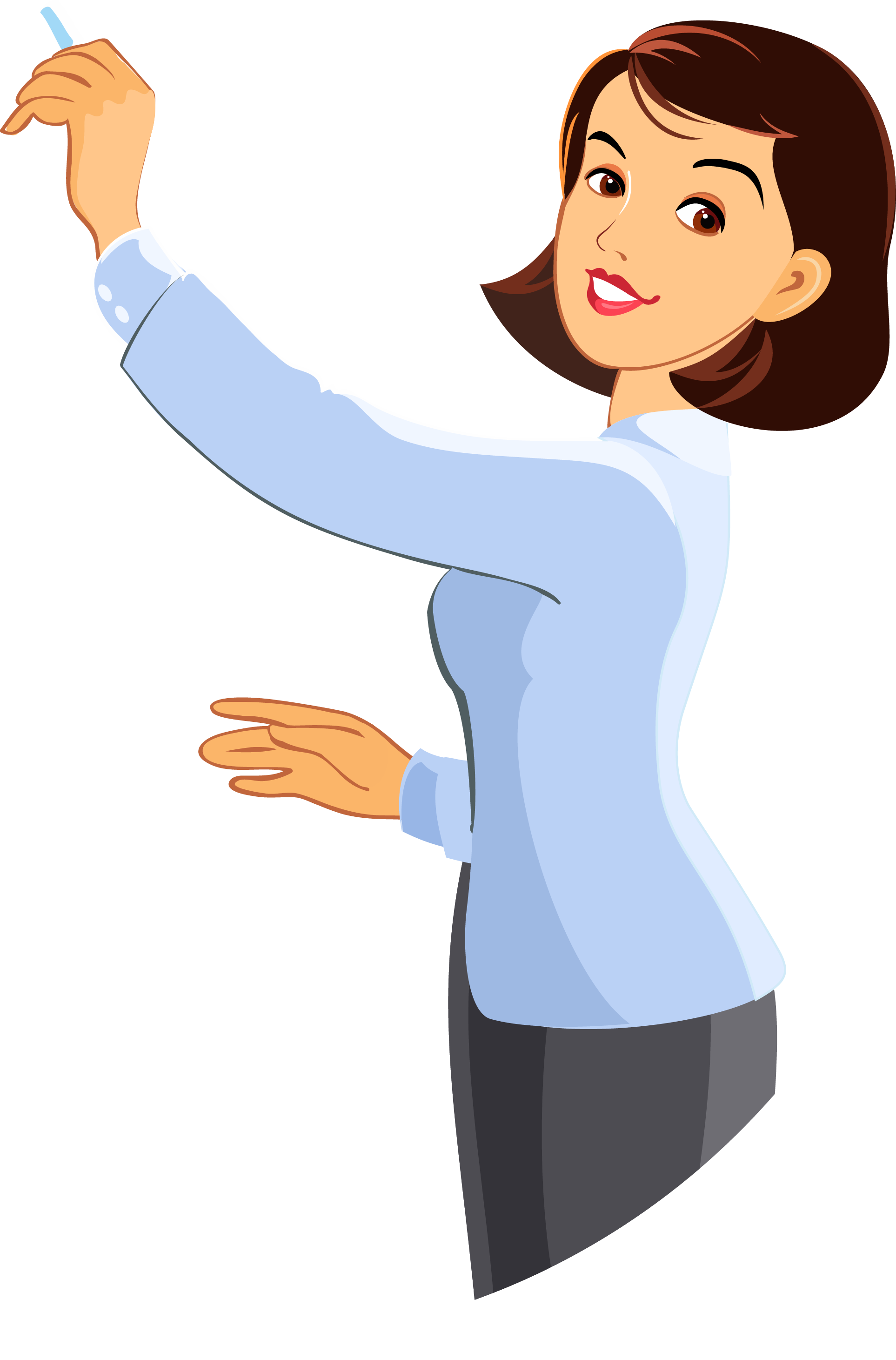 Teacher cartoon png. Woman short hair writing