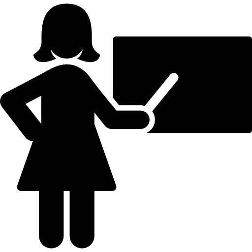 Teaching vector silhouette. Female teacher free people
