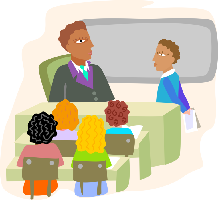 Teacher vector png. Classroom with students and