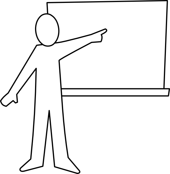 Teaching vector silhouette. Teacher pointing at board