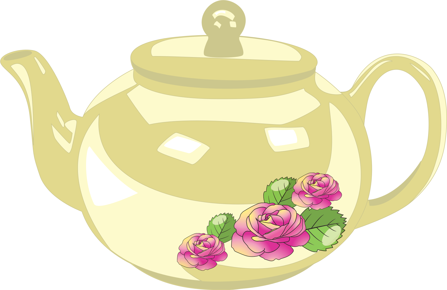 Free teapot png. With rose decoration icons