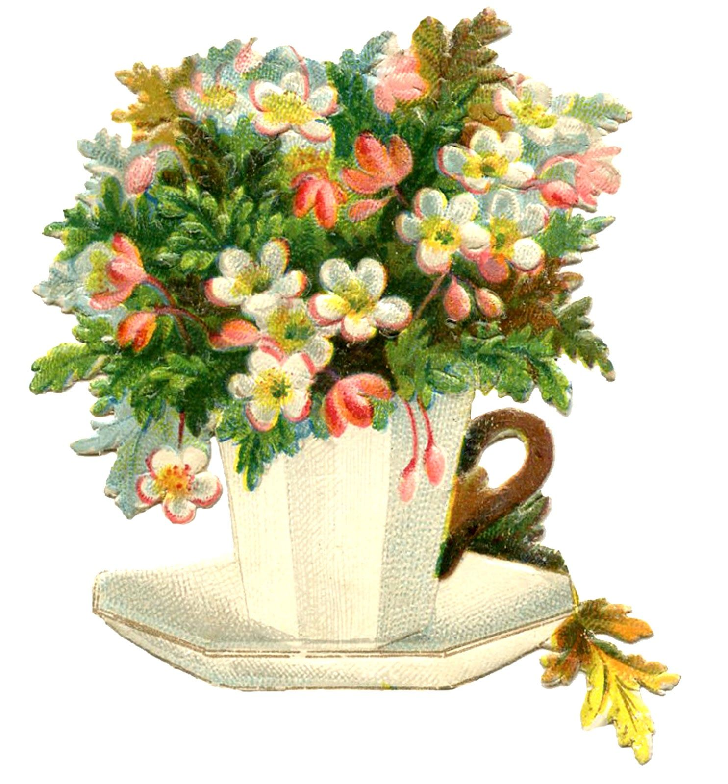 Teapot clipart mothers day. Vintage teacup image flowers