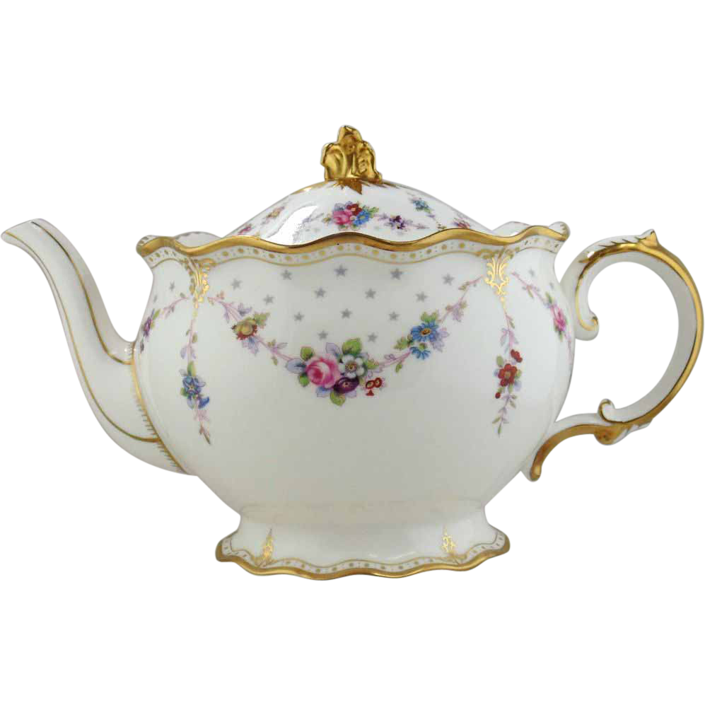Teapot with flowers png. Royal crown derby porcelain