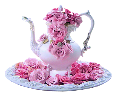 Teapot with flowers png. Beautiful pink rose pictures