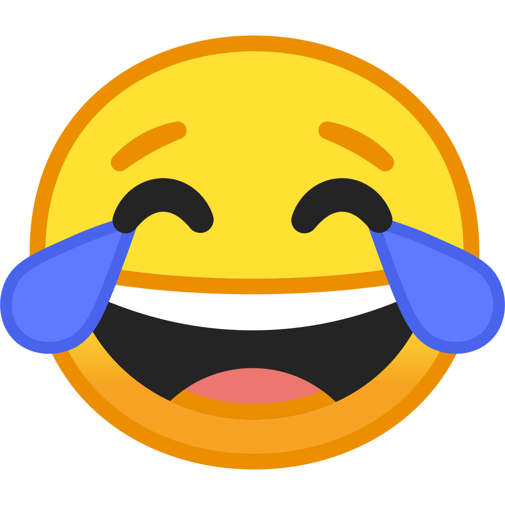Tears of joy emoji png. Face with icon noto
