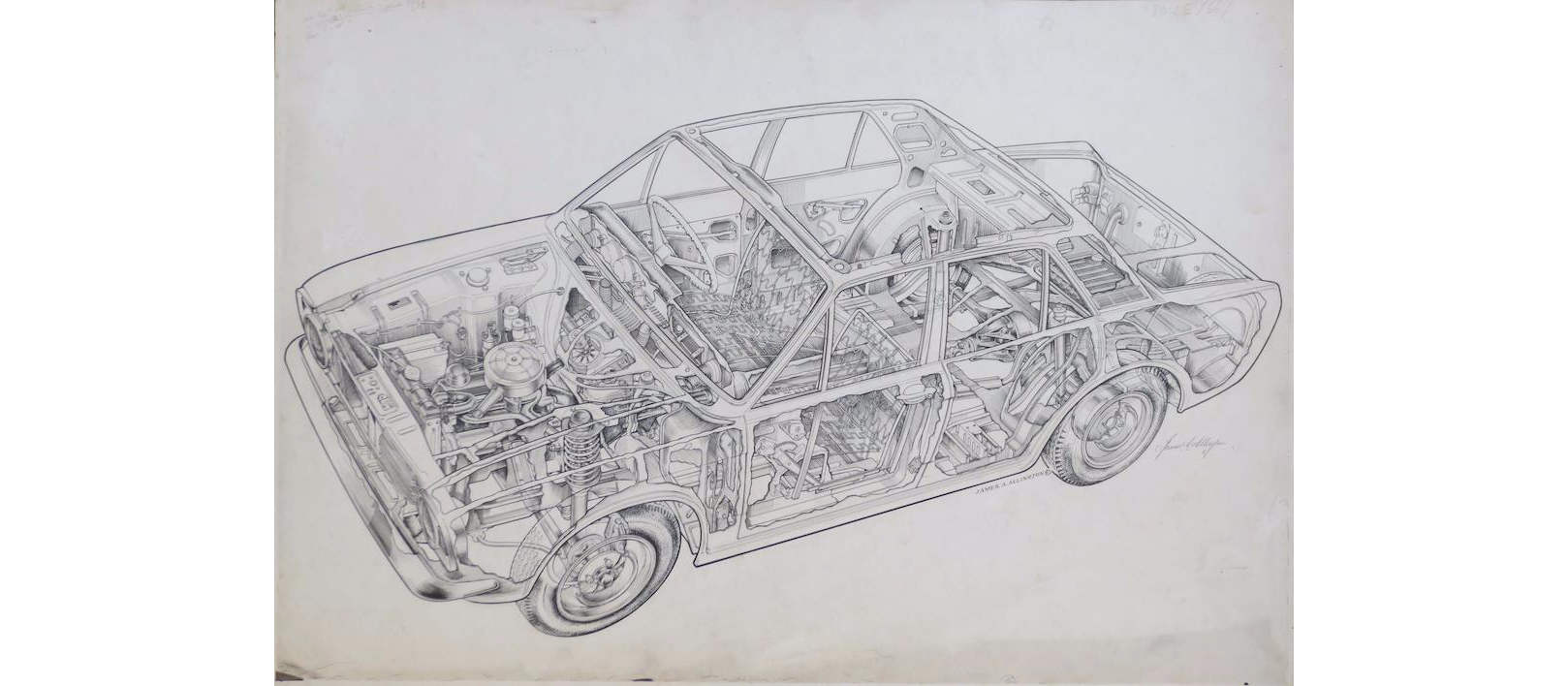 Tec drawing car. Unknown mid s saloon