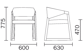 Tec drawing chair. Sign technical details