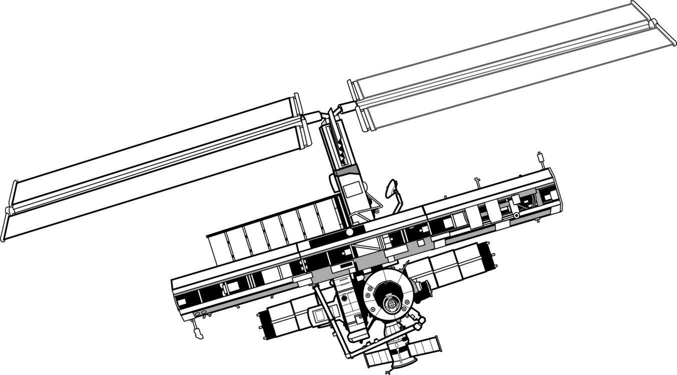 Spacecraft drawing iss. International space station shuttle