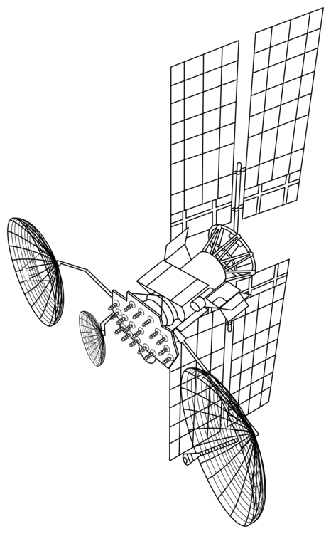 Spacecraft drawing technical. Luch tracking and data