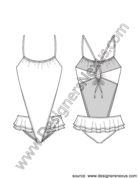 Swimsuit drawing technical. V shaped monokini with